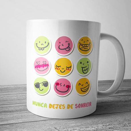 Taza Con Frase Nunca Dejes De Sonreir