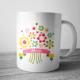 Taza con nombre personalizada con flores